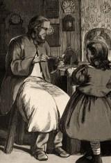 Zeichnung: kleines Mädchen schaut Uhrmacher bei der Arbeit zu - 1878