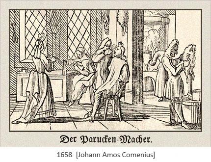 Holzschnitt: Blick in Perückenmacher-Werkstatt - 1658