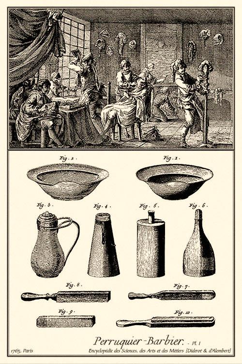 Kupferstich: Perückenmacherwerkstatt und diverse Utensilien - 1765, FR