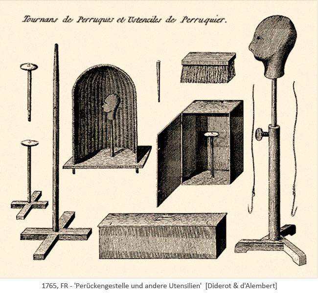 Kupferstich: Perückengestelle und diverse Utensilien - 1765, FR