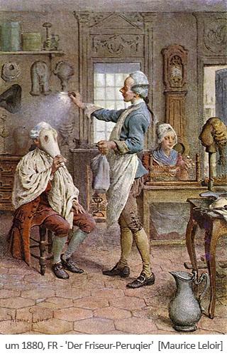 Farblitho: Kunde mit Nasentüte wird eingepudert, Frau fertigt Tressen für Perücke - 1880, FR