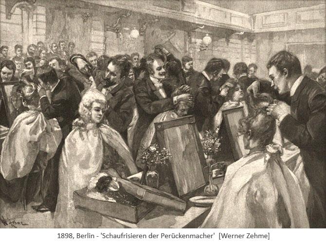 Holzstich: Schaufrisieren der Perückenmacher - 1898, Berlin