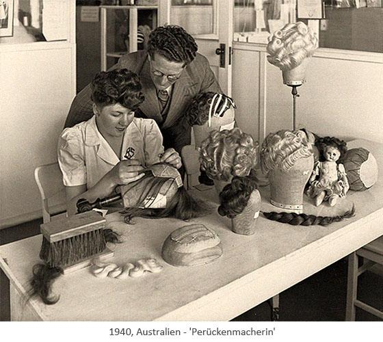 sw Foto: Perückenmacherin bei der Arbeit - 1940, Australien