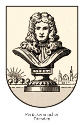 Zeichnung: Männerbüste mit Perücke in Wappen - Dresden