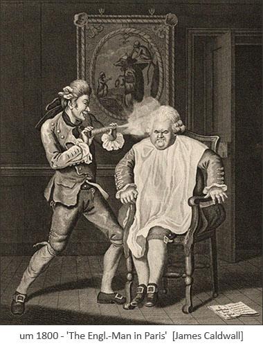 Kupferstich: dicker Engländer bekommt Perücke gepudert ~1800, Paris