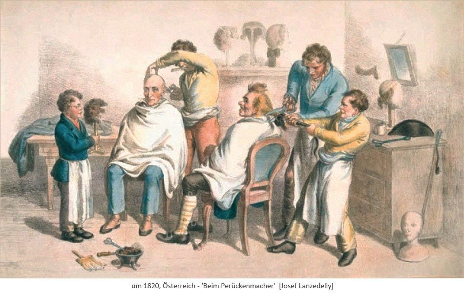 Farblitho: 2 Kunden werden von 2 Perückenmachern und 2 Gesellen bearbeitet ~1820, AT