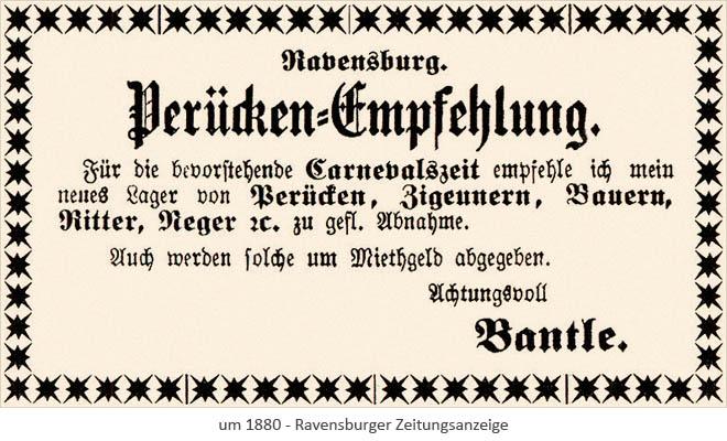 sw Druck: Ravensburger Zeitungsanzeige 'Perücken-Empfehlung' ~1880