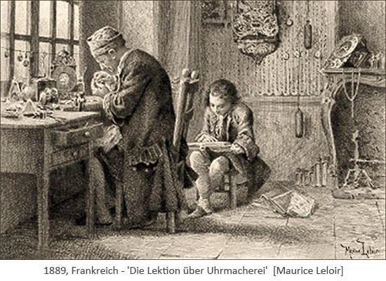Litho: alter Uhrmacher vermittelt jungem Mann Wissen über Uhrmacherei- 1889, FR