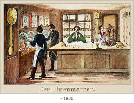 Farblitho: 3 Uhrmacher und 1 Kunde in Werkstattladen ~1830