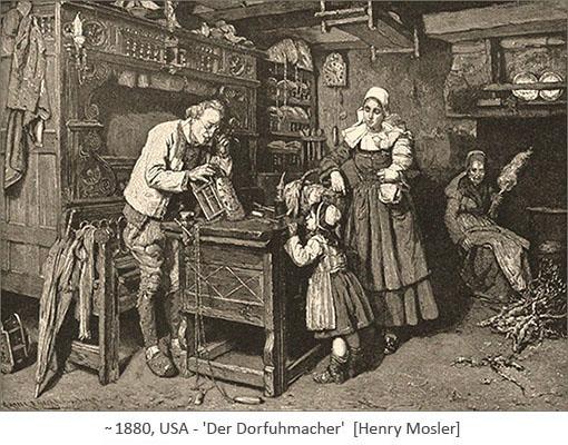 Holzstich: Mutter und Tochter zu Besuch beim Dorfuhrmacher ~1880, USA
