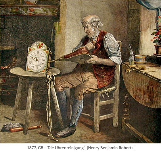 Gemälde: Uhmacher reinigt eine Schilderuhr mit einem Handblasebalg - 1877, GB