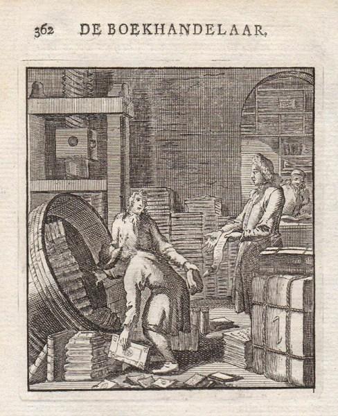 Kupferstich: Bücher in Fässern