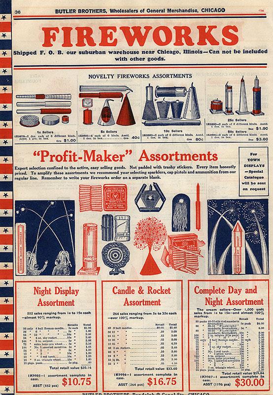 amerikanische Katalogseite für Feuerwerkskörper