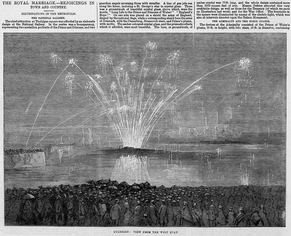 Zeitungsausschnitt: Feuerwerk anlässlich königlicher Hochzeit