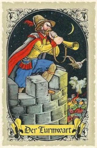 Sammelbild: Mann bläst mit Horn vomTurm hinunter