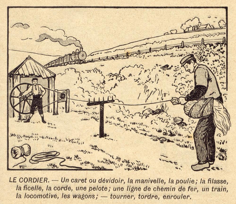 Schulbuchillustration: zwei Seiler an der Seilerbahn