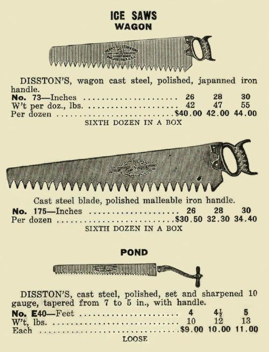 Katalogseite für Eissägen