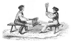 sw-illu: zwei Männer auf einer Bank beim Arbeiten