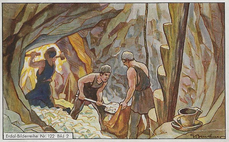 Sammelbild: drei Arbeiter in einem Salzbergwerk