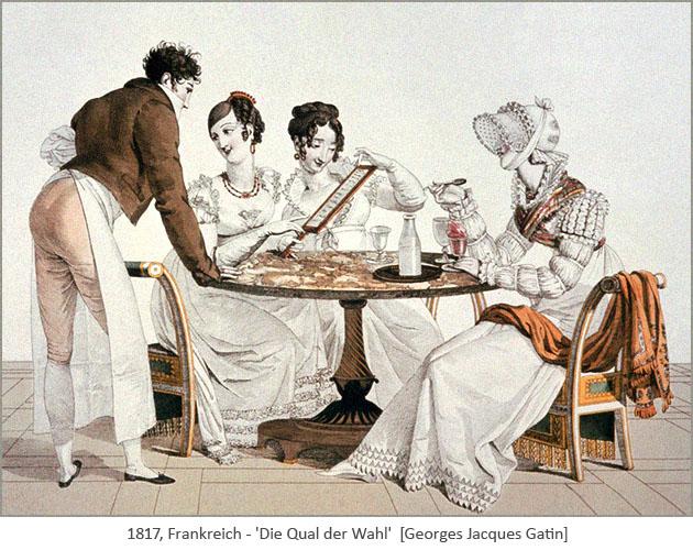 kolorierter Stich: die Damen haben die Qual der Wahl der Eissorte - 1817, Frankreich