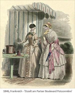 kolorierter Stich: Eisverkauf in einem Zelt am Pariser Boulevard Poissonnière - 1846, FR