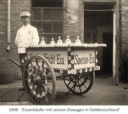 sw Foto: Eisverkäufer mit geschmücktem Eiswagen in Süddeutschland - 1908