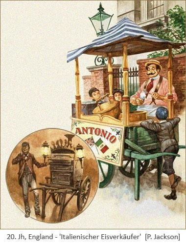 Farblitho: Italienischer Eisverkäufer mit seinem Handkarren - frühes 20. Jh, England