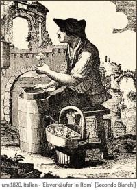 Kupferstich: auf einem Schemel sitzender Eisverkäufer in Rom ~1820, IT