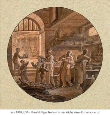 Rötelzeichnung: Geschäftiges Treiben in der Küche eines Eisrestaurants ~1820, USA