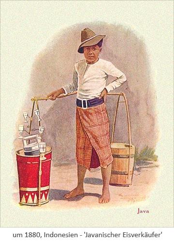 Farblitho: Javanischer Eisverkäufer ~1880, Indonesien