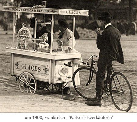 sw Fotopostkarte: Pariser Eisverkäuferin ~1900, Frankreich