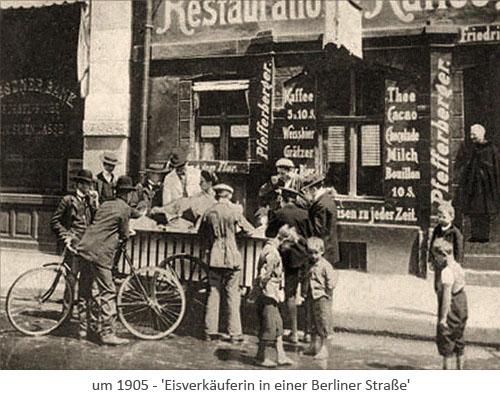 sw Fotopostkarte: Eisverkäuferin in einer Berliner Straße ~1905