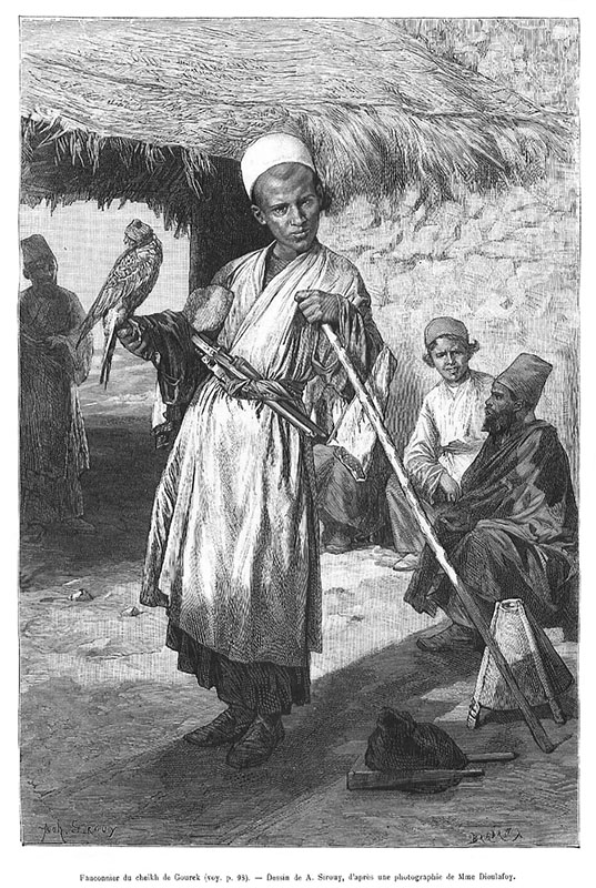 Radierung: junger Mann mit Falke