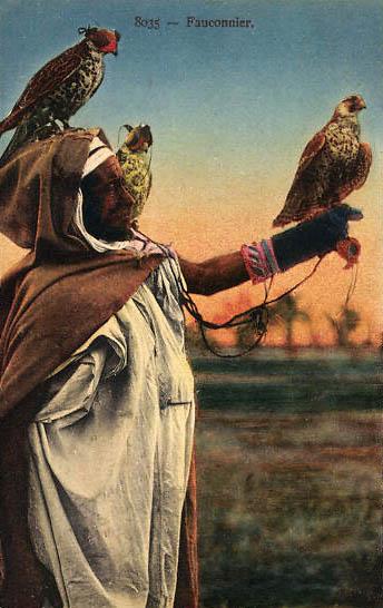 kolorierte AK: Mann mit drei Falken
