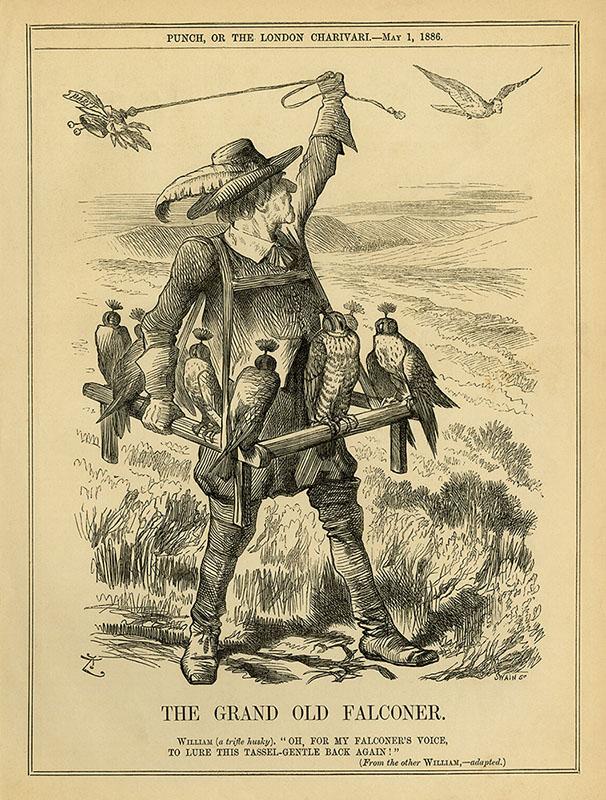 Zeichnung: Mann mit Gestell und Falken