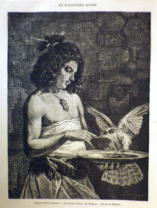 Zeichnung: junger Mann mit Falke auf einem Teller