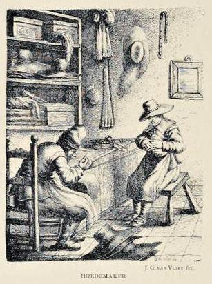 alte Zeichnung: zwei Hutmacher in der Werkstatt