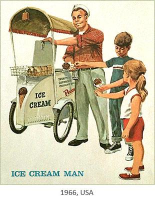 Farbposter: Eisverkäufer verkauft Kindern Eistüten am Fahrradmobil - 1966, USA