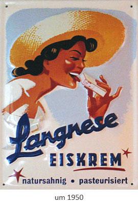 Farbfoto: Emailleschild für Langnese-Eiskrem ~1950