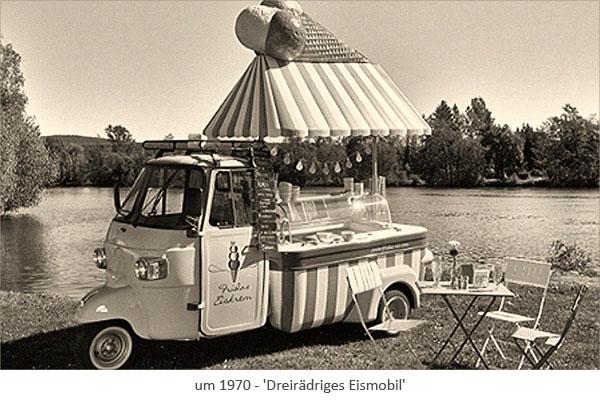 sw Foto: Dreirädriges Eismobil an einem See ~1970