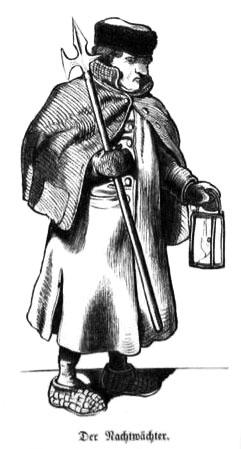 sw-Zeichnung: nachtwächter mit Hellebarde und Lampe