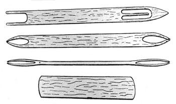 sw-Zeichnung: Nadeln zum Netzmachen