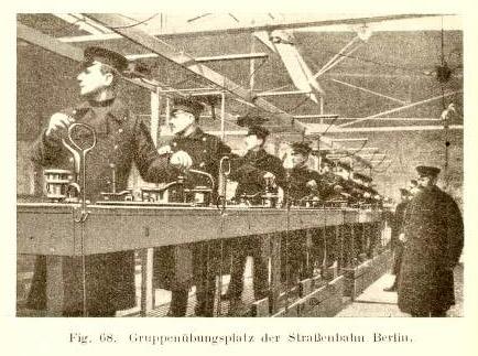 altes Foto: mehrere Männer üben Tramfahren