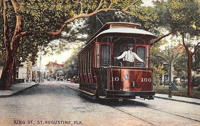 kolorierte Postkarte: Straßenbahn