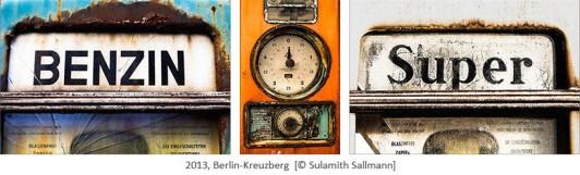 3 Farbfotos: Details alter, verwitterter Zapfsäulen - 2013, Berlin