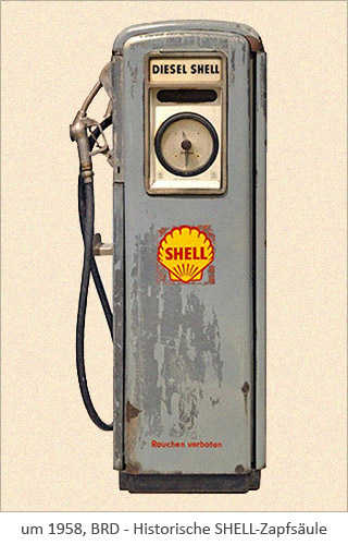 Farbfoto: historische SHELL-Zapfsäule ~1958, BRD