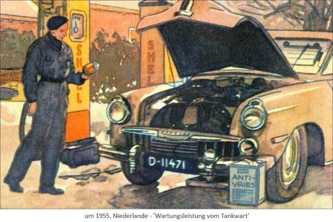 Farblitho: Wartungsleistungen vom Tankwart ~1965, Niederlande