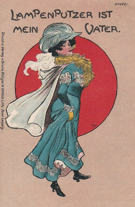 Karte vintage: fesche Lady