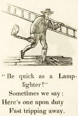 Laternenanzünder: Illustration mit englischem Spruch