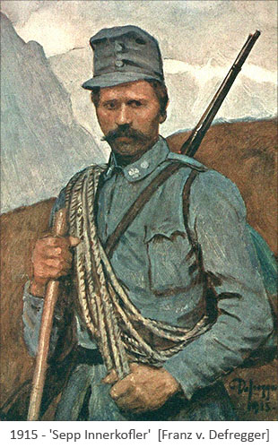 Gemälde: Dolomitenführer Sepp Innerkofler beim Militär - 1915